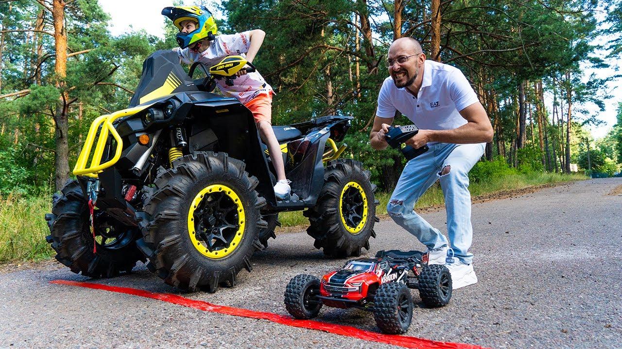 Данила Гро — TOY car vs ATV BRP!!!ИГРУШЕЧНАЯ машинка VS квадроцикл BRP!!!