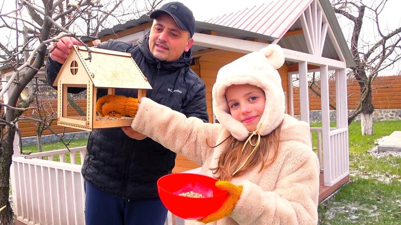 Май Литл Настя — Школа ДОМА Настя с папой накормили птиц и открыли СЮРПРИЗ My little Nastya