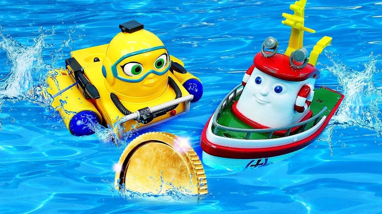 ДиДи ТВ — Кораблик Элаяс и его друзья везут сокровища! Детские игрушки в бассейне