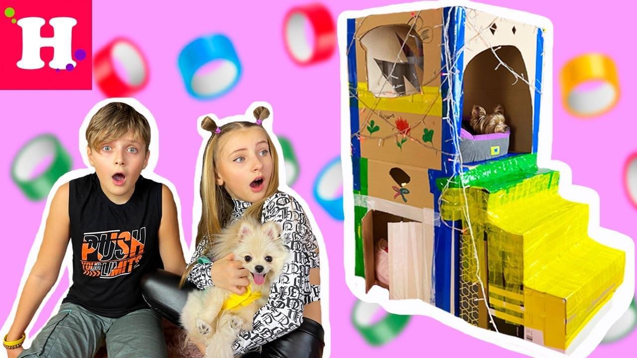Мисс Николь — ОГРОМНЫЙ ДОМ из КАРТОНА для собак!  😱 ДВУХ ЭТАЖНЫЙ КОТЕДЖ! УКРАШАЕМ СВЕТОДИОДНЫМИ ГЕРЛЯНДАМИ 💥