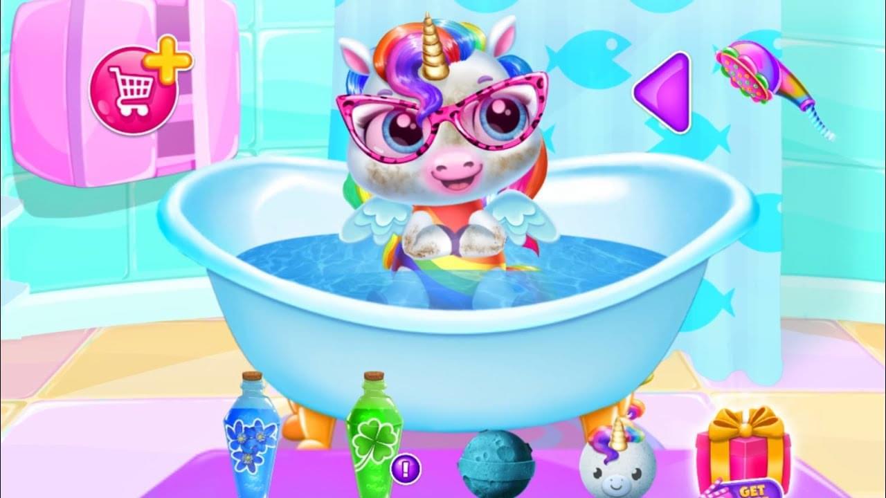 Зырики ТВ — Играем в игру Мой маленький Радужный Единорог 2 Принимает ванну/ Baby rainbow unicorn/Зырики ТВ