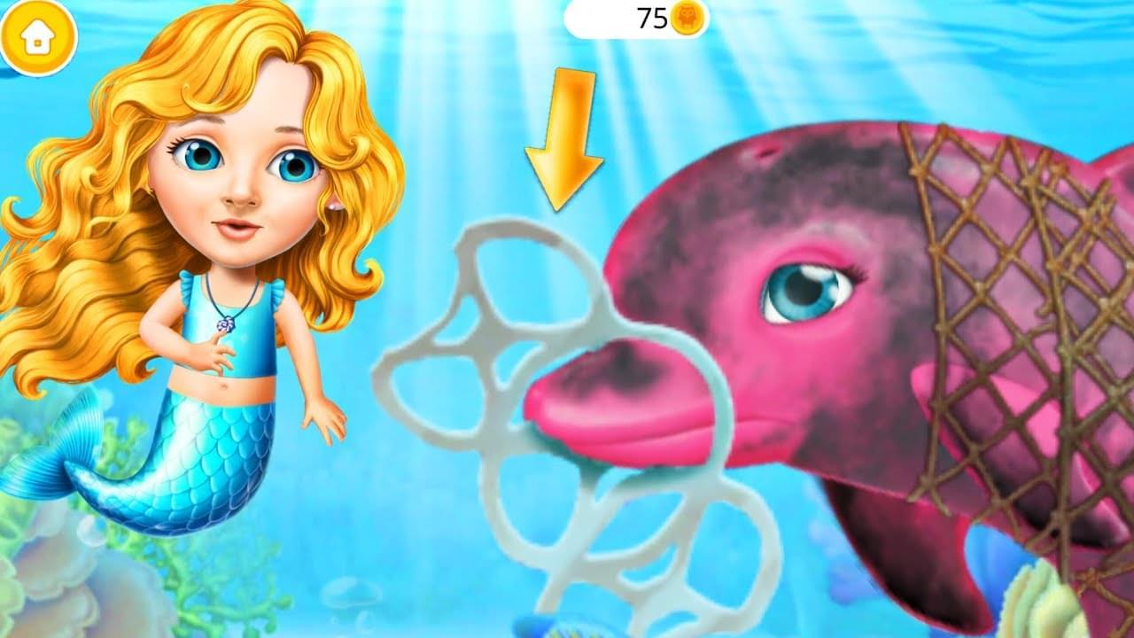 Зырики ТВ — Играем в игру Русалочий Мир — Помогаем подруге Русалке, Дельфину, Акуле и сортируем мусор