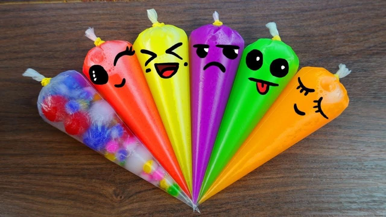 Зырики ТВ — Making Neon Rainbow Slime With Funny Piping Bags #68 | Original Slime, ASMR Satisfying Slime