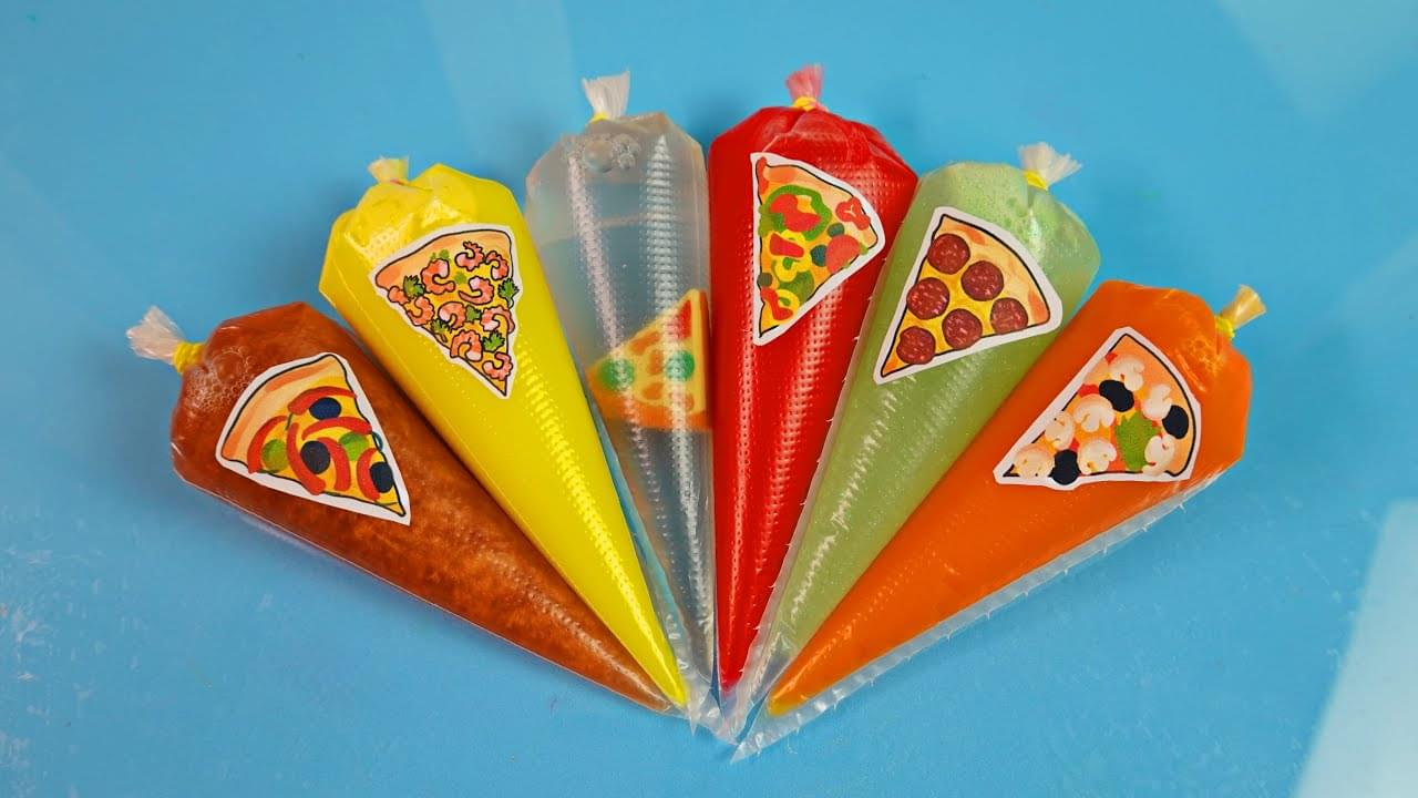 Зырики ТВ — Making Pizza Slime With Piping Bags and Surprises Stickers #80|Original Clear Slime, ASMR Satisfying