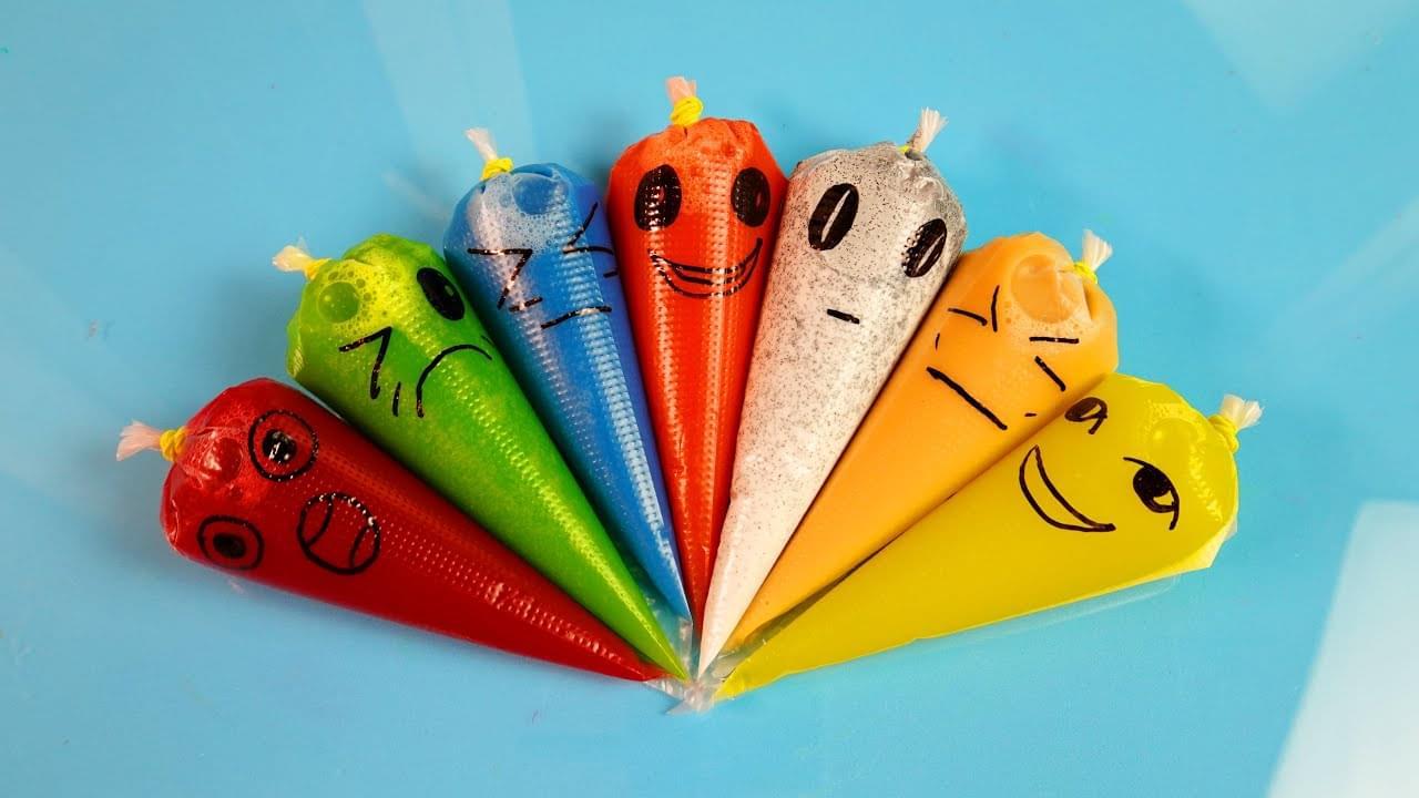 Зырики ТВ — Making Rainbow Slime With Funny Piping Bags #79 | Glitter Clear Slime, ASMR Satisfying Slime
