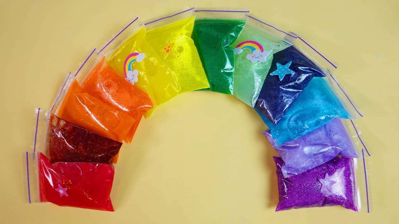 Зырики ТВ — Making Rainbow Slime With Funny Bags #67 | Glitter VS Glossy Rainbow Slime, ASMR Satisfying Slime