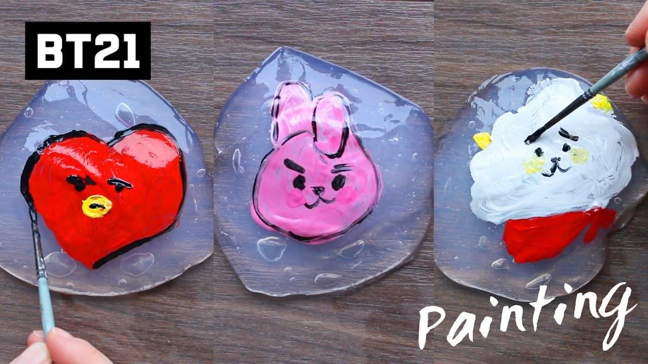 Зырики ТВ — V / BT21 Tata, Jungkook/Cooky, Jin/RJ Acrylic Painting On Clear Slime And Mixing/ASMR Satisfying Art