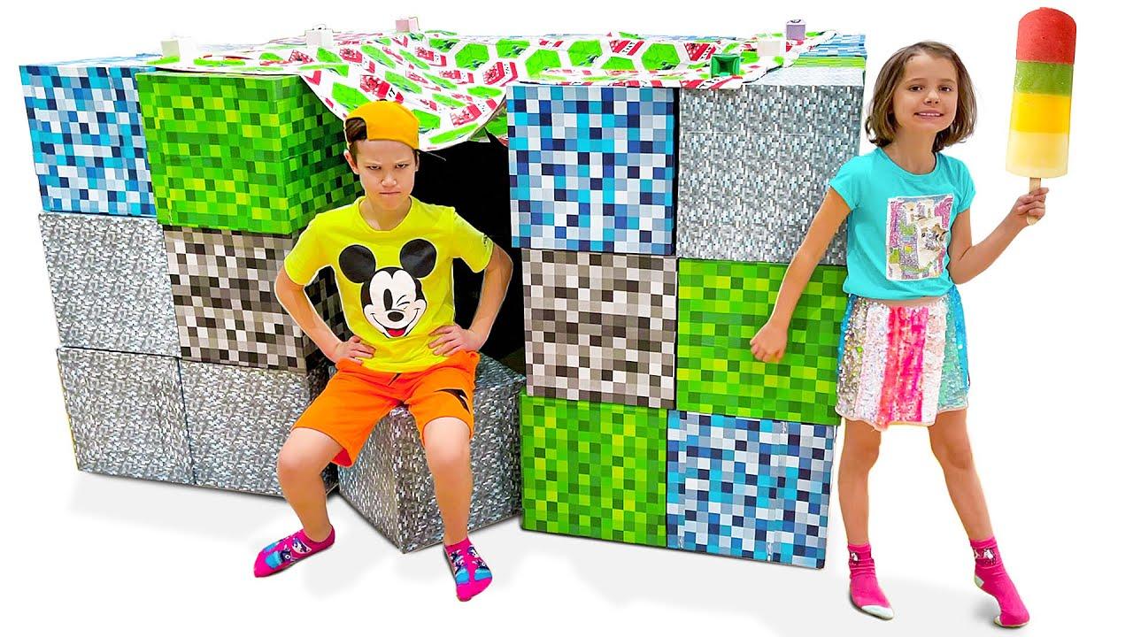 Мисс Кейти — Катя хочет играть в настоящем домике из кубиков Майнкрафт