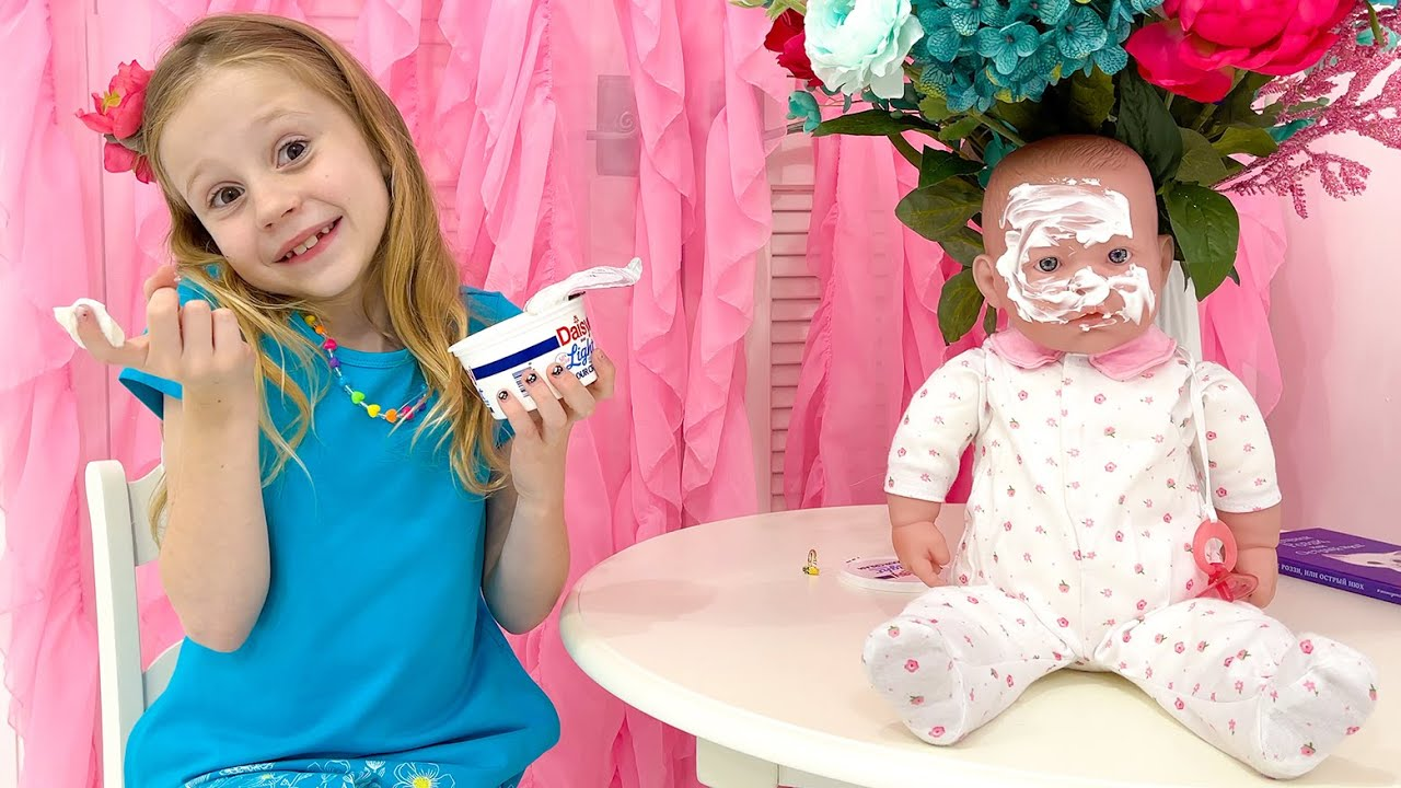 Nastya Pretends to be a Nanny for Baby