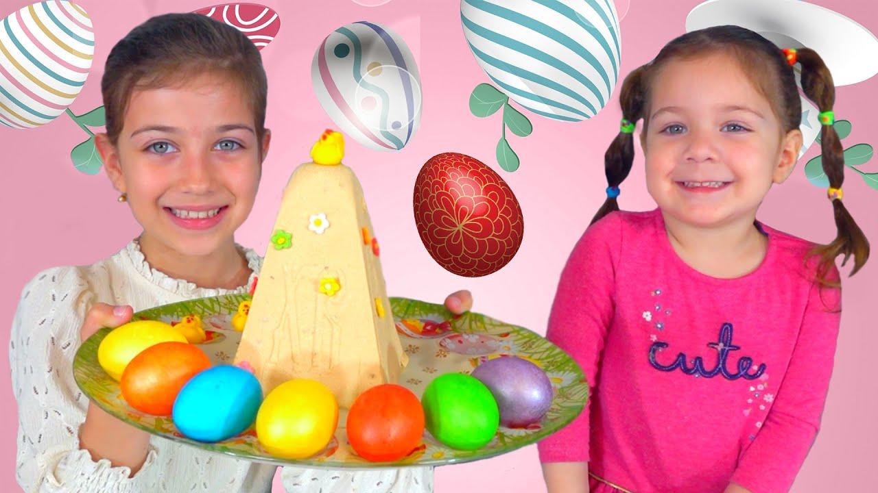Эмилюша представляет — Эмилюша с сестренкой готовят Пасху и красят яйца
