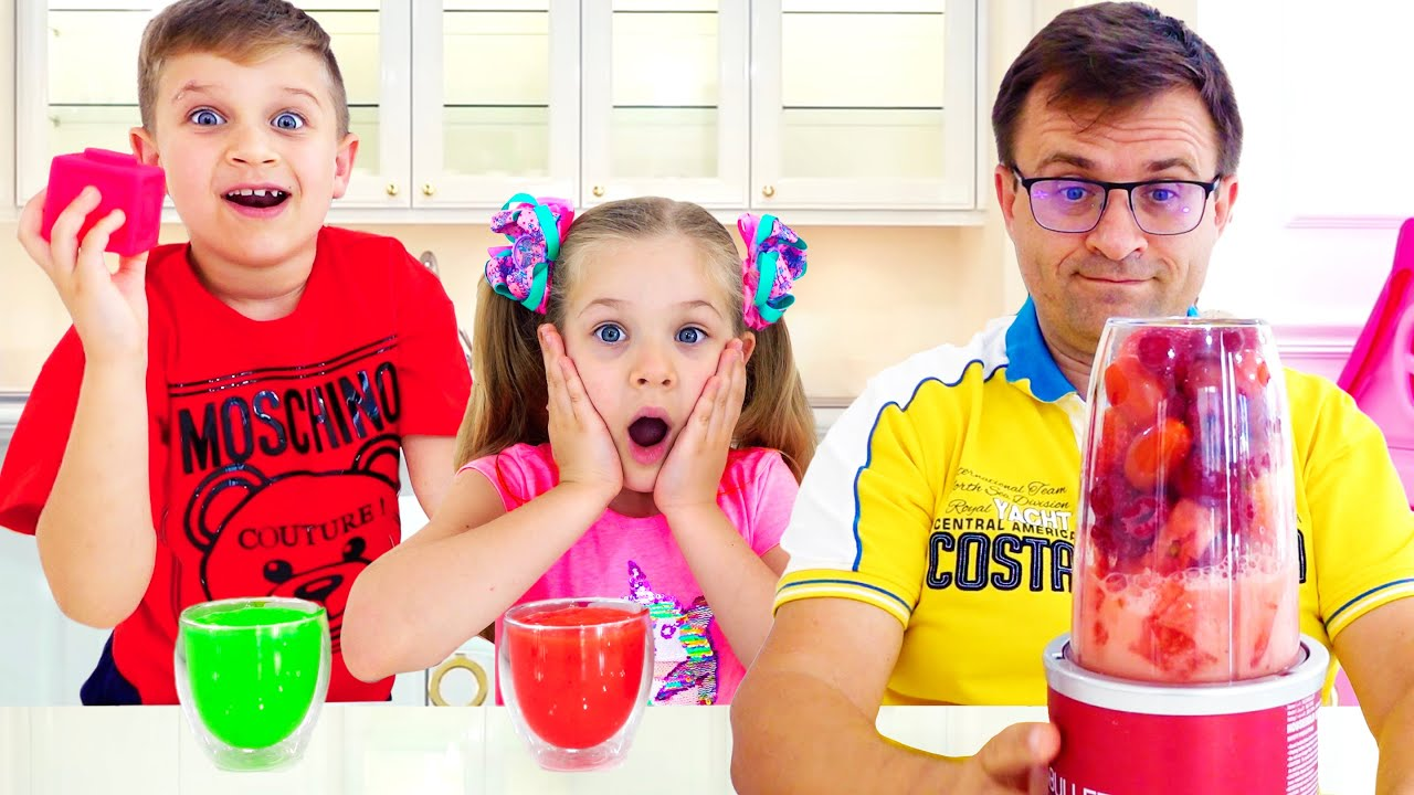 Кидс Рома Шоу — Roma and Diana learn colors with fruits and vegetables & how to count