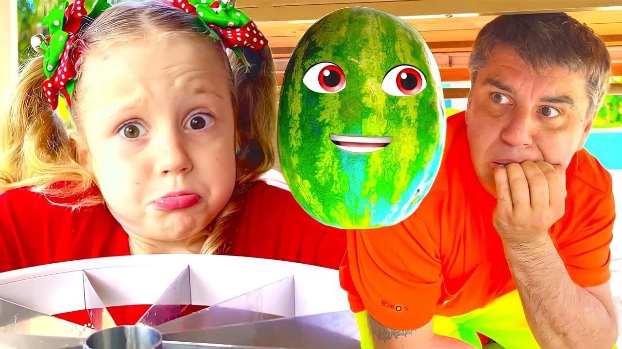 Настя и арбуз веселая история для детей.