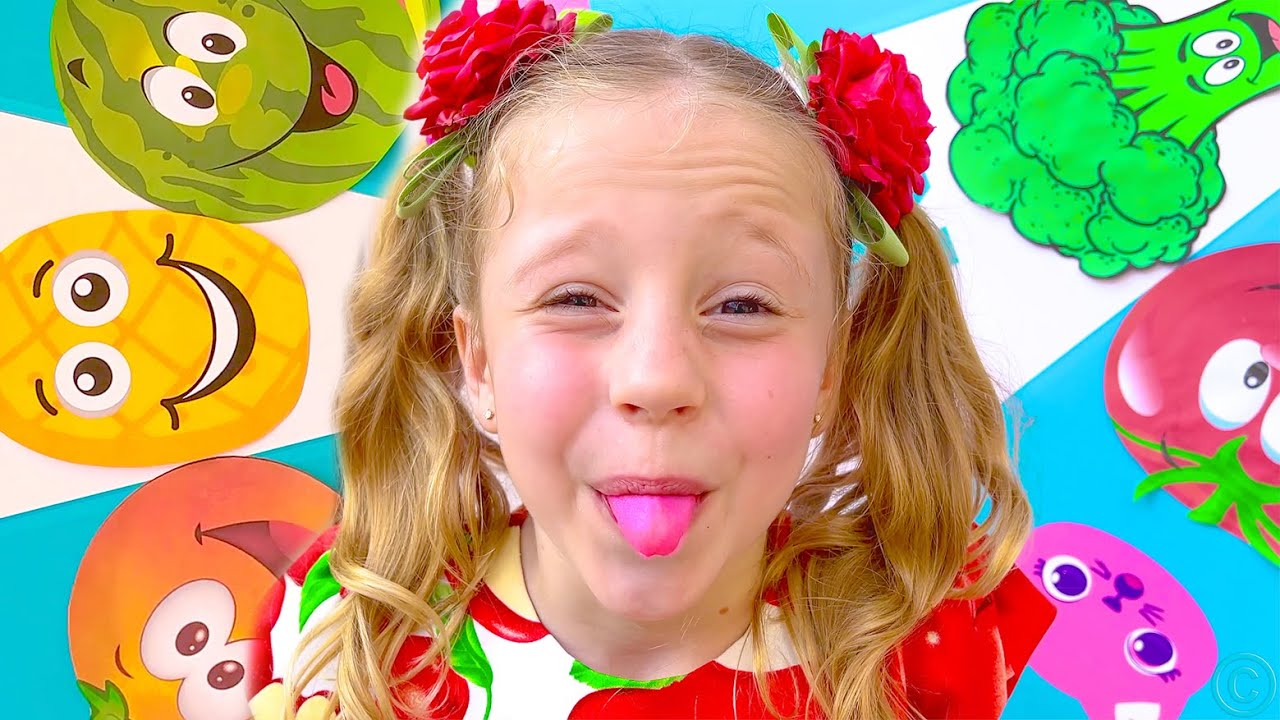 Nastya and Dad in the yummy Fruits and Vegetables dance challenge