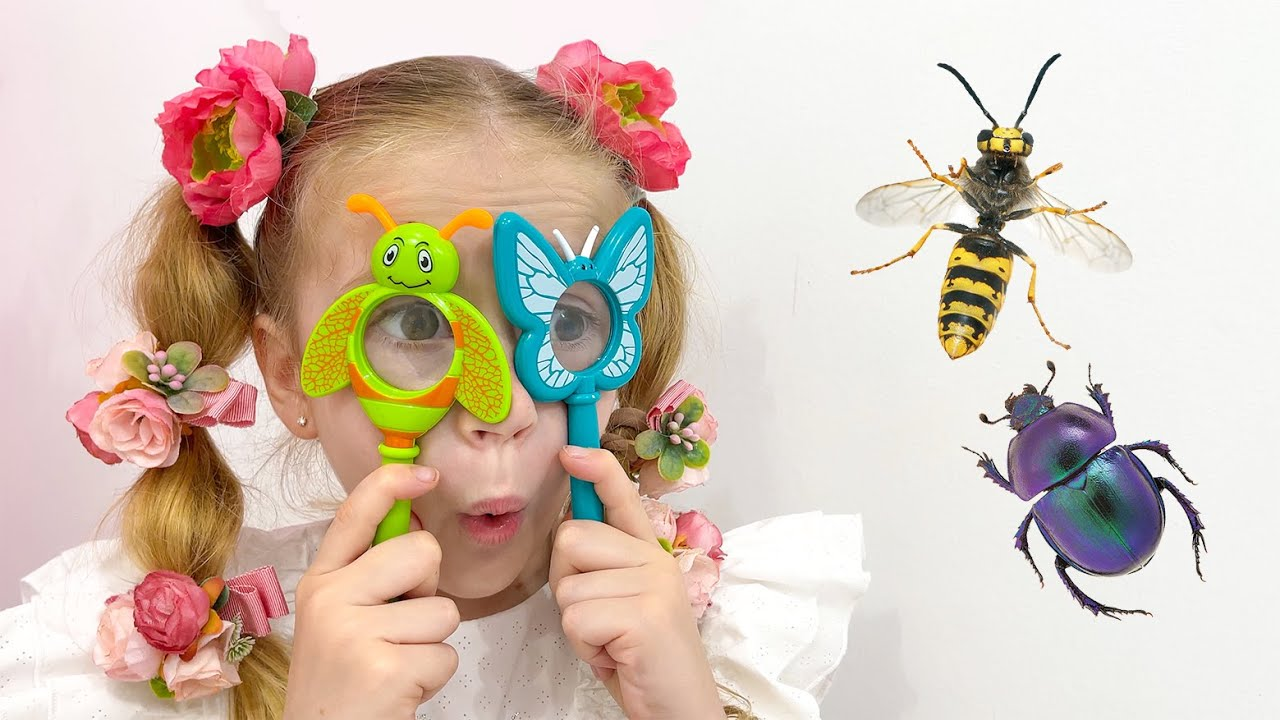 Nastya studies insects with her dad