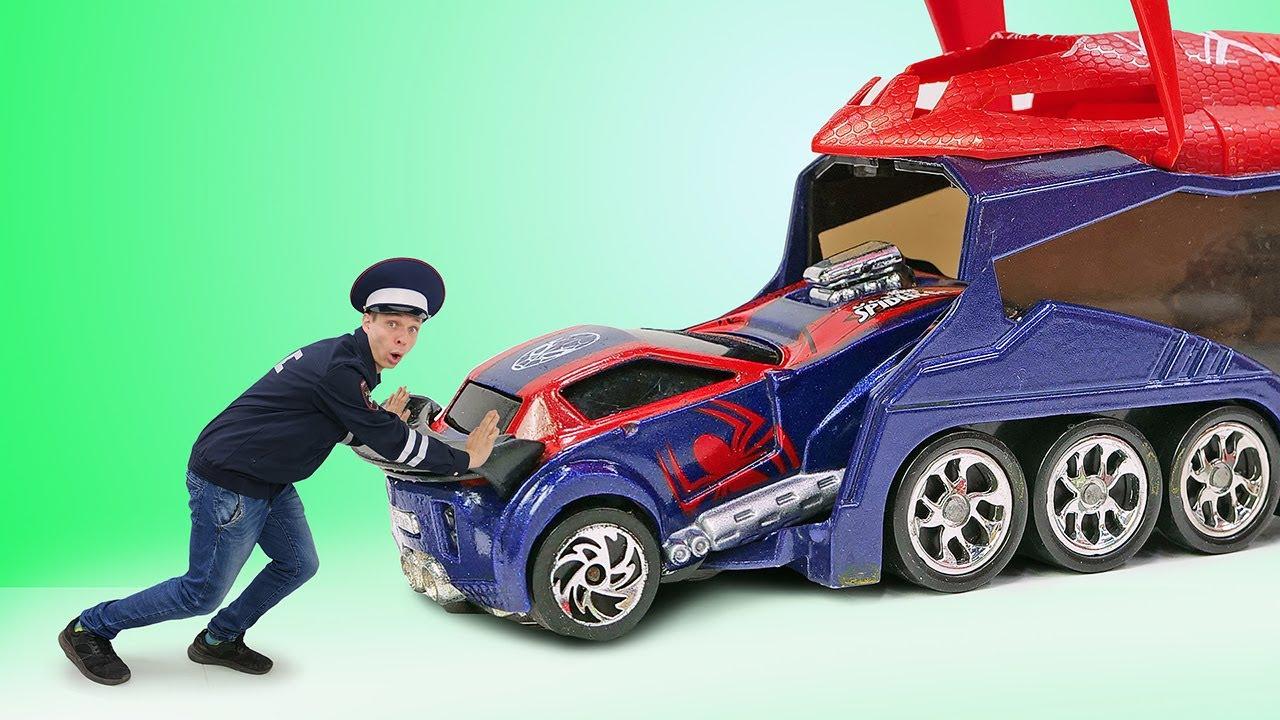 ПАПА тайм — Инспектор Фёдор чинит Машинки Супергероев! Видео игры гонки для мальчиков. Герои Марвел в видео шоу