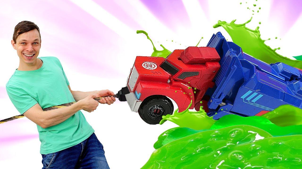 ПАПА тайм — Оптимус Прайм в видео игре — Фёдор ищет Автоботов! Машинки и Роботы Трансформеры онлайн. Игры битвы