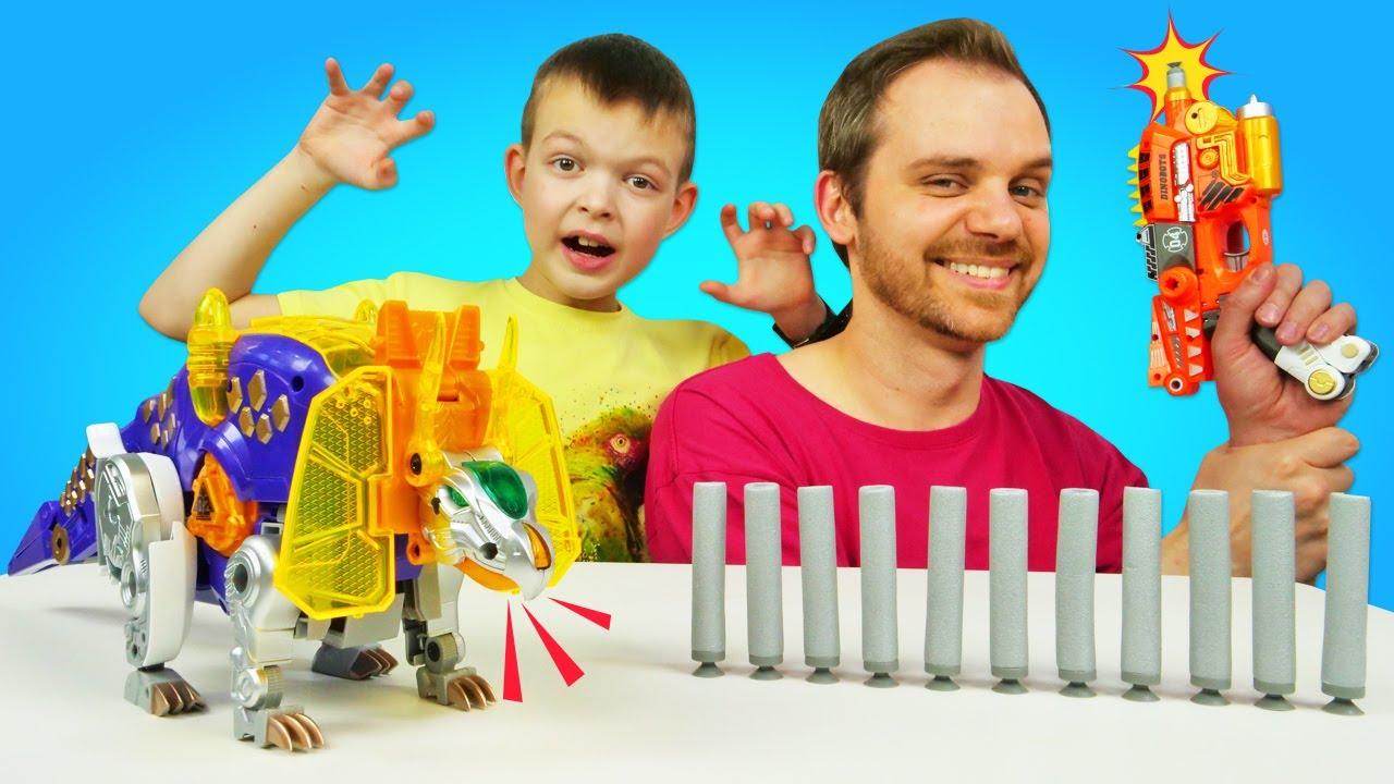 ПАПА тайм — Трансформеры видео игры. Диноганы — Бластеры и Динозавры! Весёлые игры стрелялки для мальчиков
