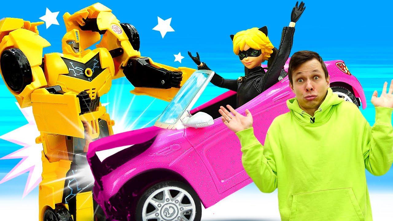 ПАПА тайм — Видео игры машины – Краш-тест для Тачки Супер Кота! – Роботы Трансформеры и Леди Баг в игры гонки