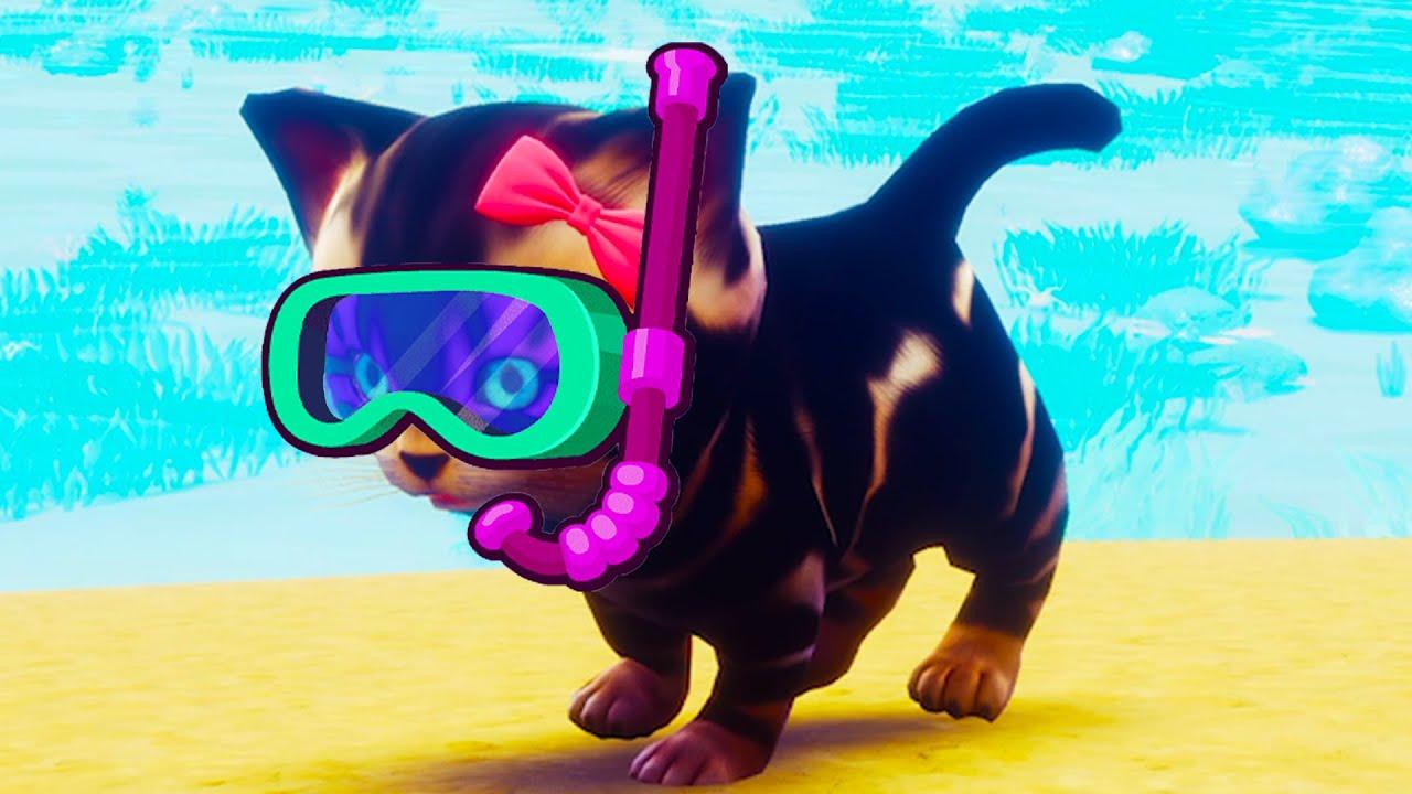 Пурумчата — СИМУЛЯТОР Маленького КОТЕНКА #5 Плавающая кошка на Пляже Play With Gilber на ПУРУМЧАТА