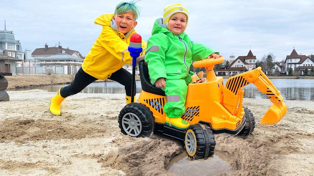 Супер Сеня — Niki ride on Tractor excavator help Senya