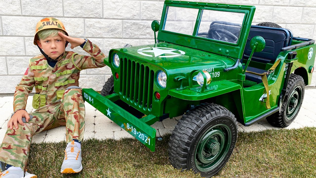 Супер Сеня — Senya Unboxing a new military Power Wheels Car