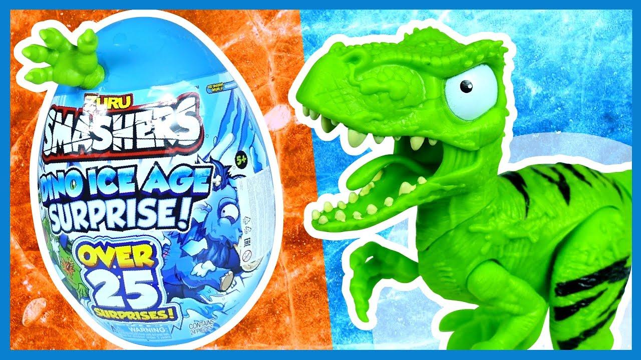 Каляка Маляка — Гигантское яйцо динозавра! Слаймы и сюрпризы. Smashers Dino Ice Age Surprise.
