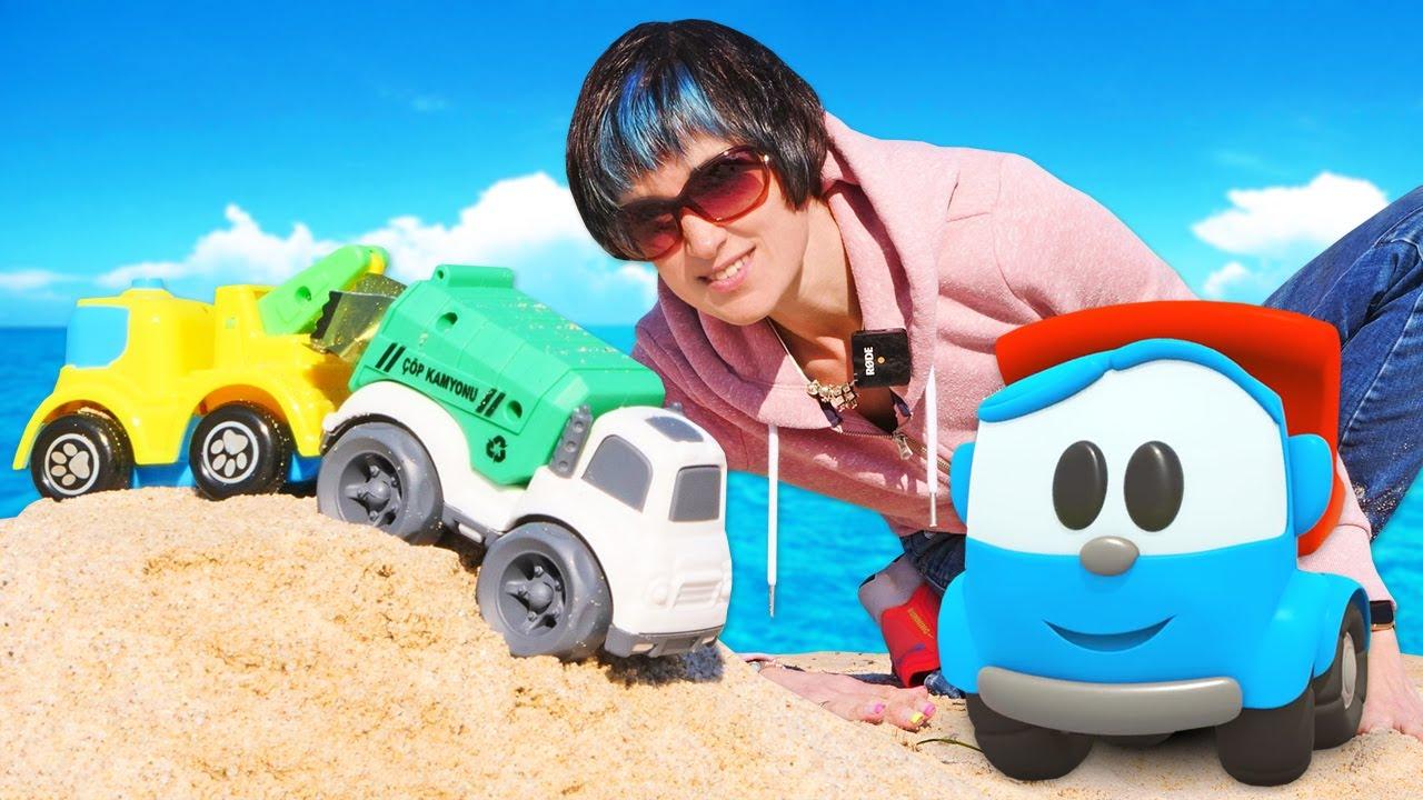 Капуки Кануки — Мусоровоз, машинки и кран на пляже. Мультик Грузовичок Лёва — Весёлая школа Капуки Кануки