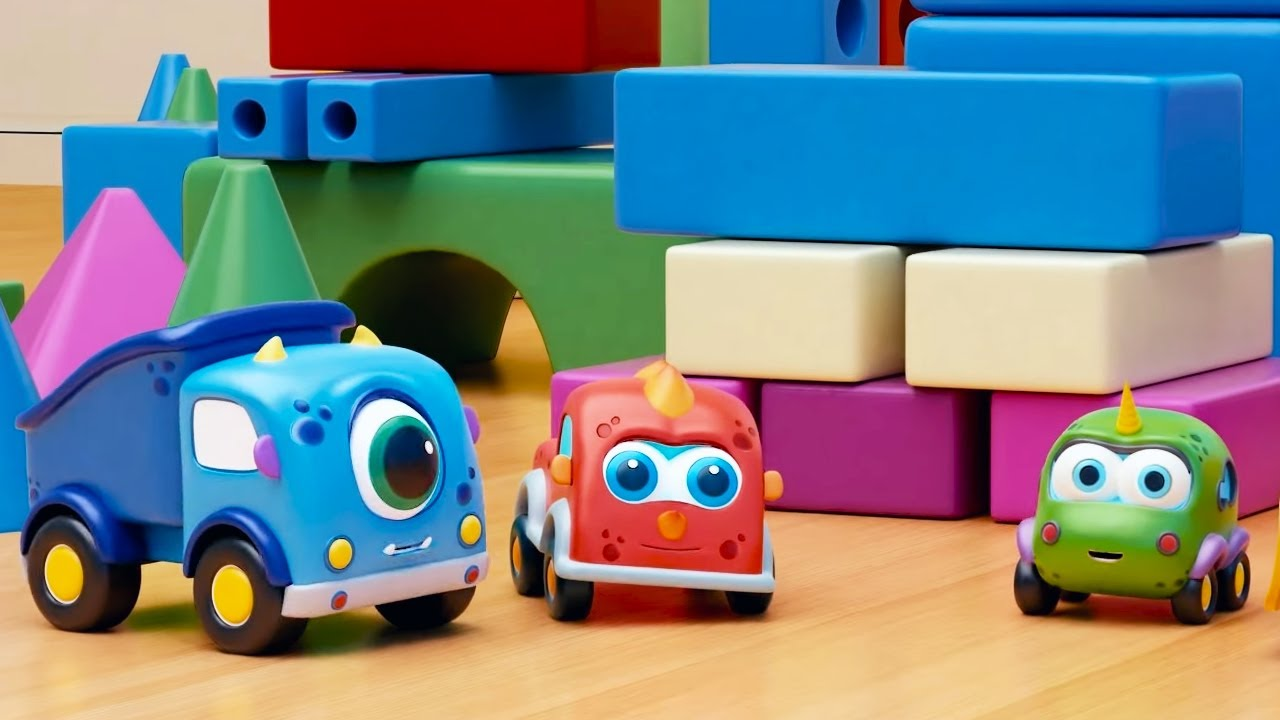 Машинки Мокас 🚕 Машинки строят замок 🚙 Развивающие мультики для детей и малышей 🚗