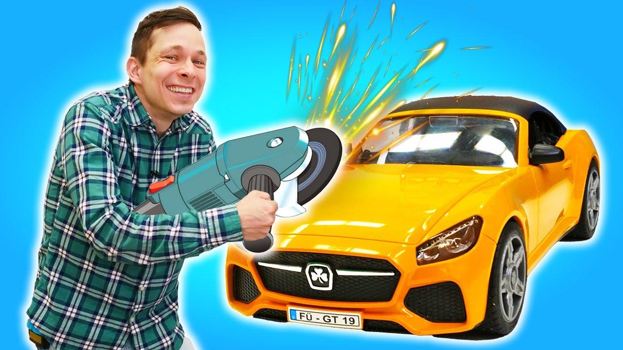 ПАПА тайм — Фёдор делает из машины Кабриолет? Прокачка Тачки в Мастерской! Видео игры машины и супергерои онлайн