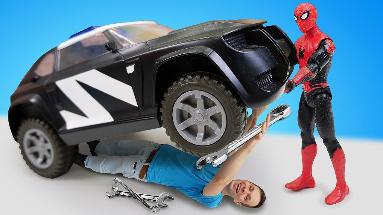 ПАПА тайм — Видео игры Машинки — Человек Паук помогает Фёдору в Мастерской! —  Супергерои игры битвы онлайн
