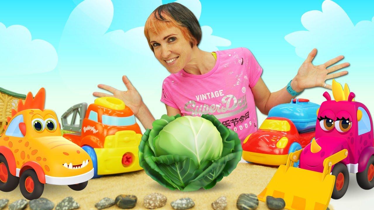 Капуки Кануки — Мультики про машинки. Игры для детей с Капуки Кануки. Сажаем капусту — Веселая школа с Машей
