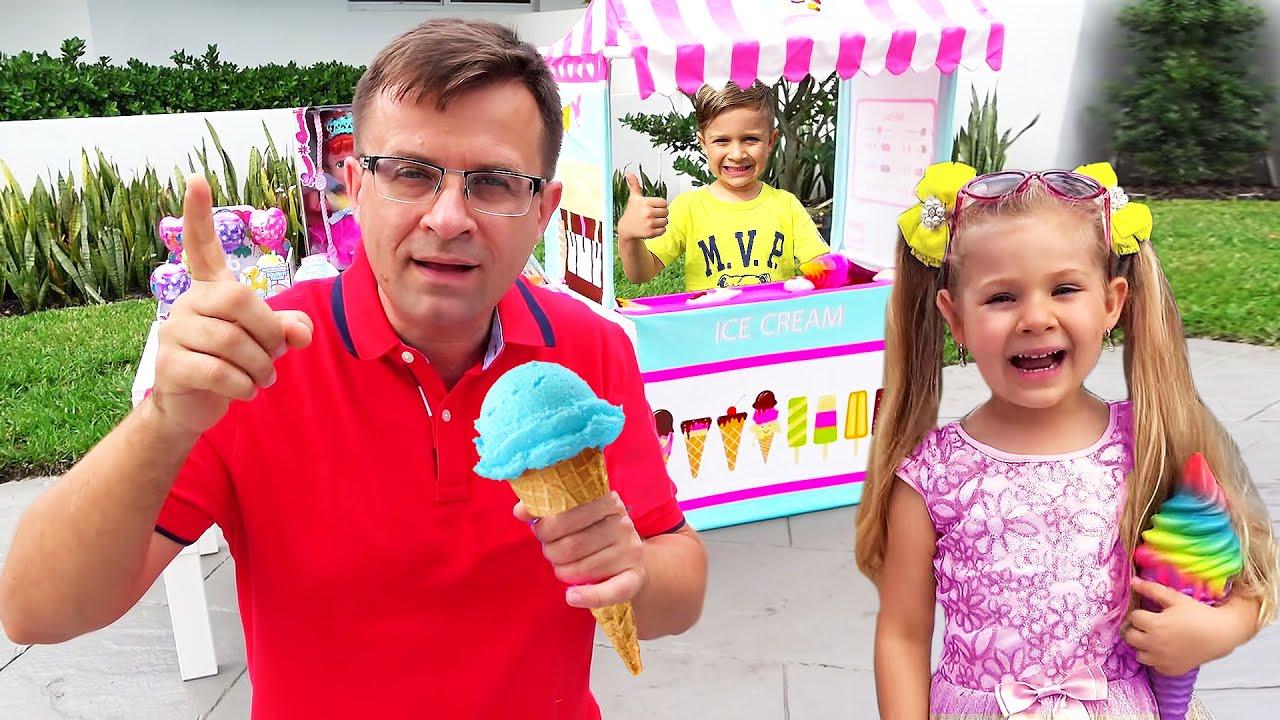 Кидс Рома Шоу — Roma and Diana Pretend to Play Ice Cream Stories for Children