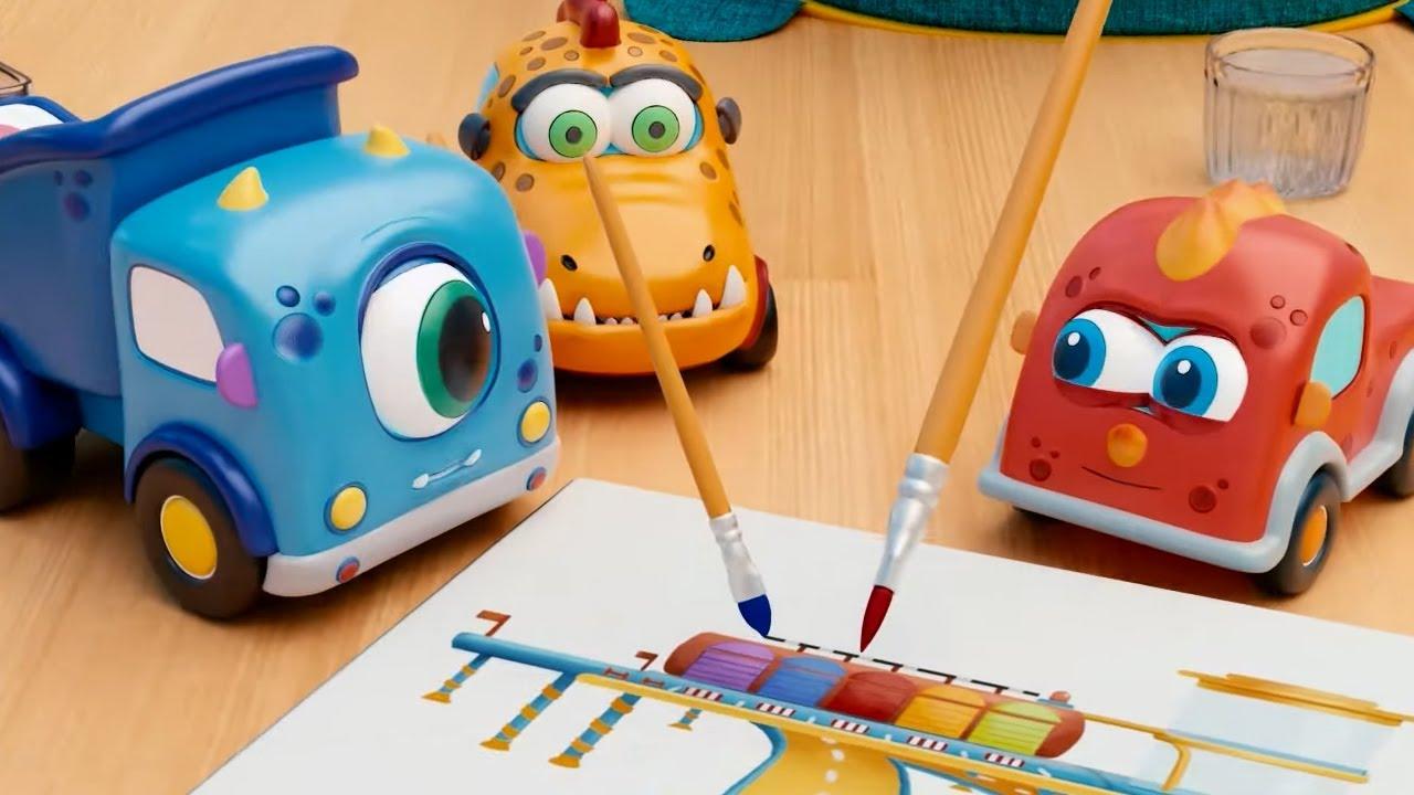 Машинки Мокас 🚕 Урок рисования 🚙 Развивающие мультики для детей и малышей 🚗