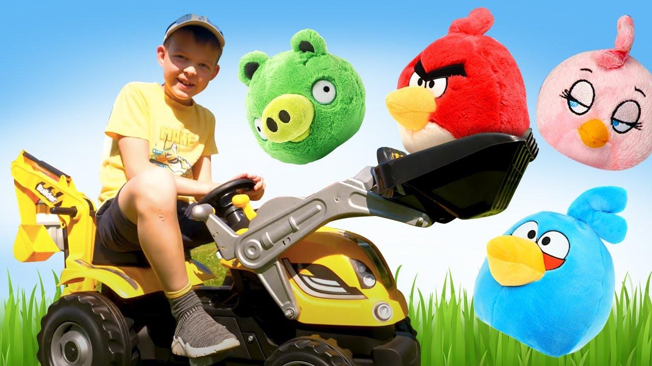 ПАПА тайм — Прикольные видео – Новая машина строит крепость Энгри Бердз! — Весёлые игры стрелялки Angry Birds