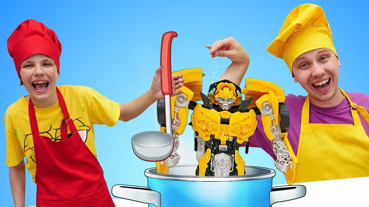 ПАПА тайм — Роботы Трансформеры — Вкусняшки для БАМБЛБИ от Полицейской Академии! — Смешные видео игры готовить