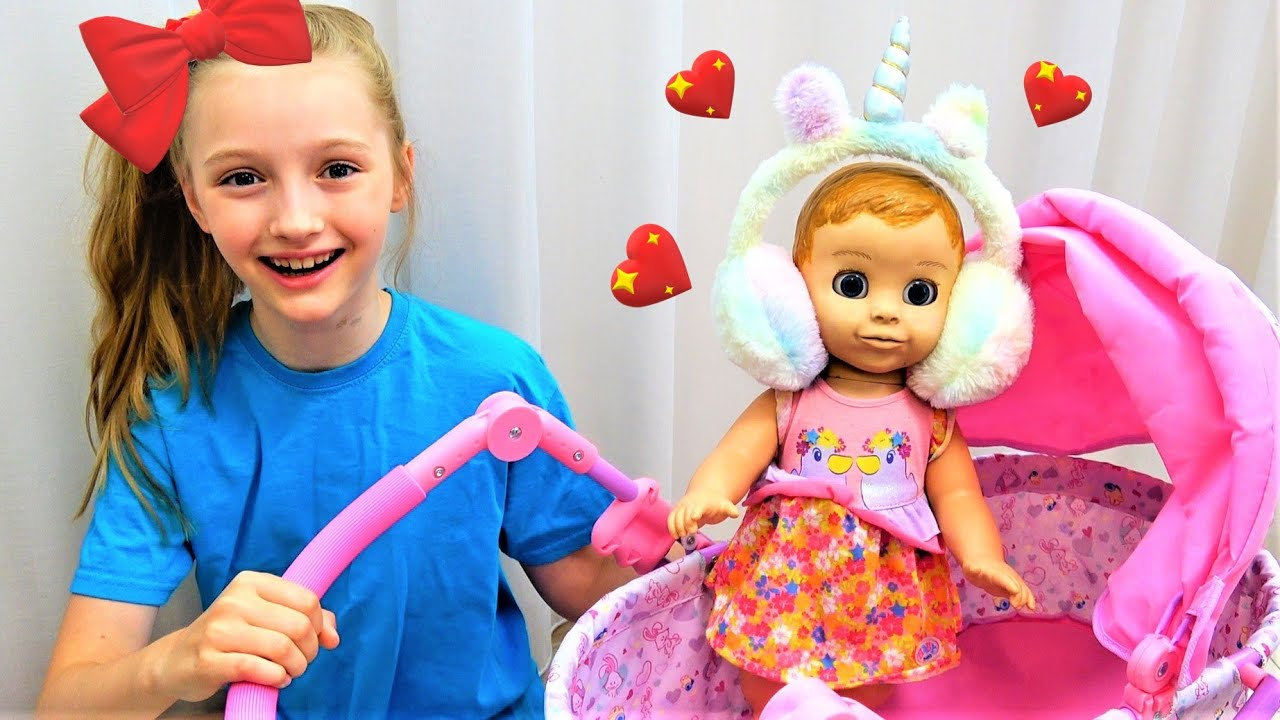 Супер Полина — Polina playing with baby doll and more kids videos
