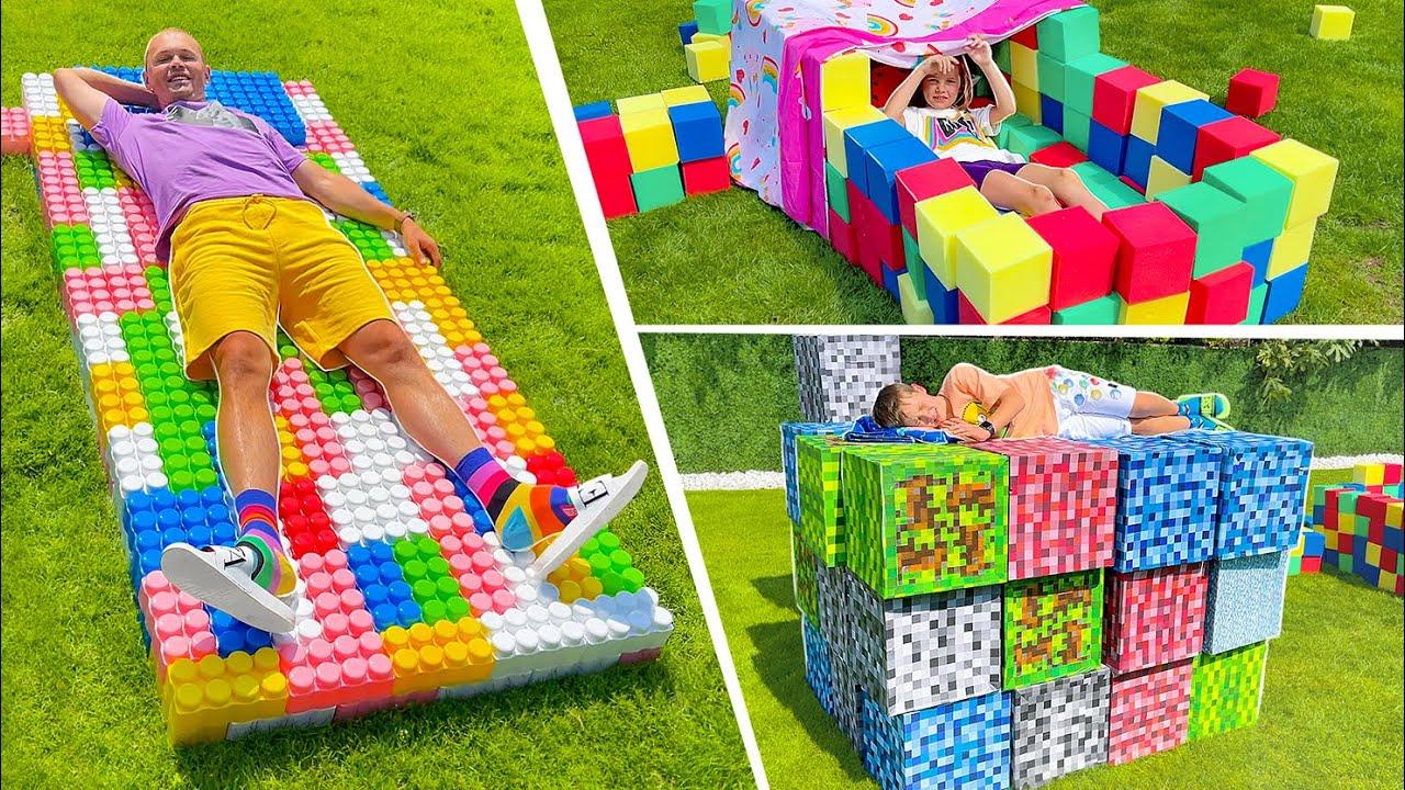Мистер Макс — Кто построит лучше кровать для улицы из кубиков и лего