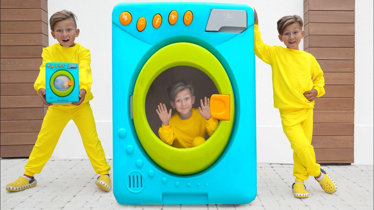 Супер Сеня — Senya playing with magical toy washing machine — Compilation videos