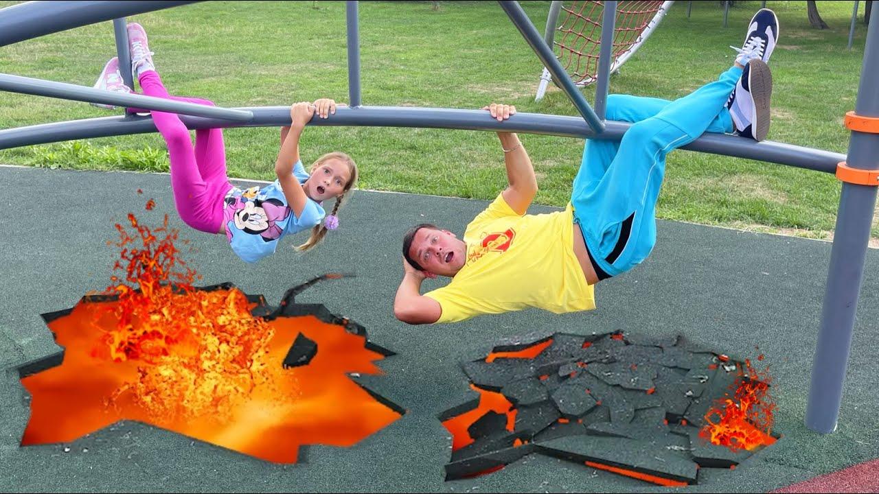 Маленькая Мисс София — Floor is a lava challenge — София с папой весело играют на детской площадке