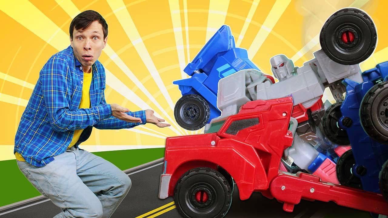 ПАПА тайм — Автобот Оптимус Прайм сломался! Роботы Трансформеры в Мастерской! Сборник видео игры для мальчиков