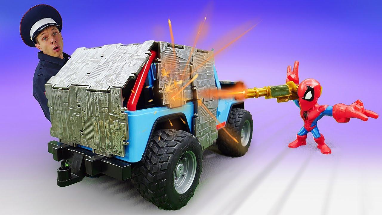 ПАПА тайм — Человек Паук — нарушитель? Видео игры машинки для мальчиков. Инспектор Фёдор и Супергерои онлайн