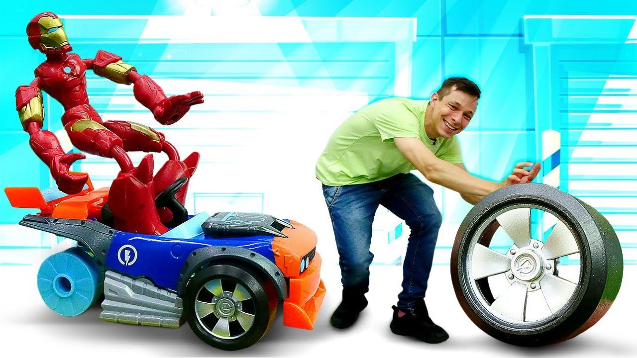 ПАПА тайм — Супергерои и машинки — Железный Человек и Фёдор собирают новую Тачку! —  Видео игры для мальчиков