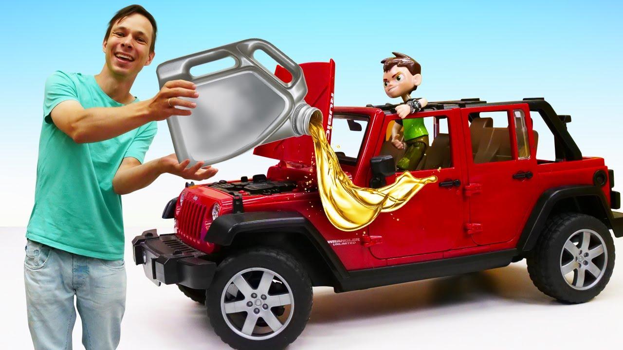 ПАПА тайм — Видео игры машинки – Бен 10 ремонтирует Джип в мастерской Фёдора! – Игры для мальчиков с Бен Тен