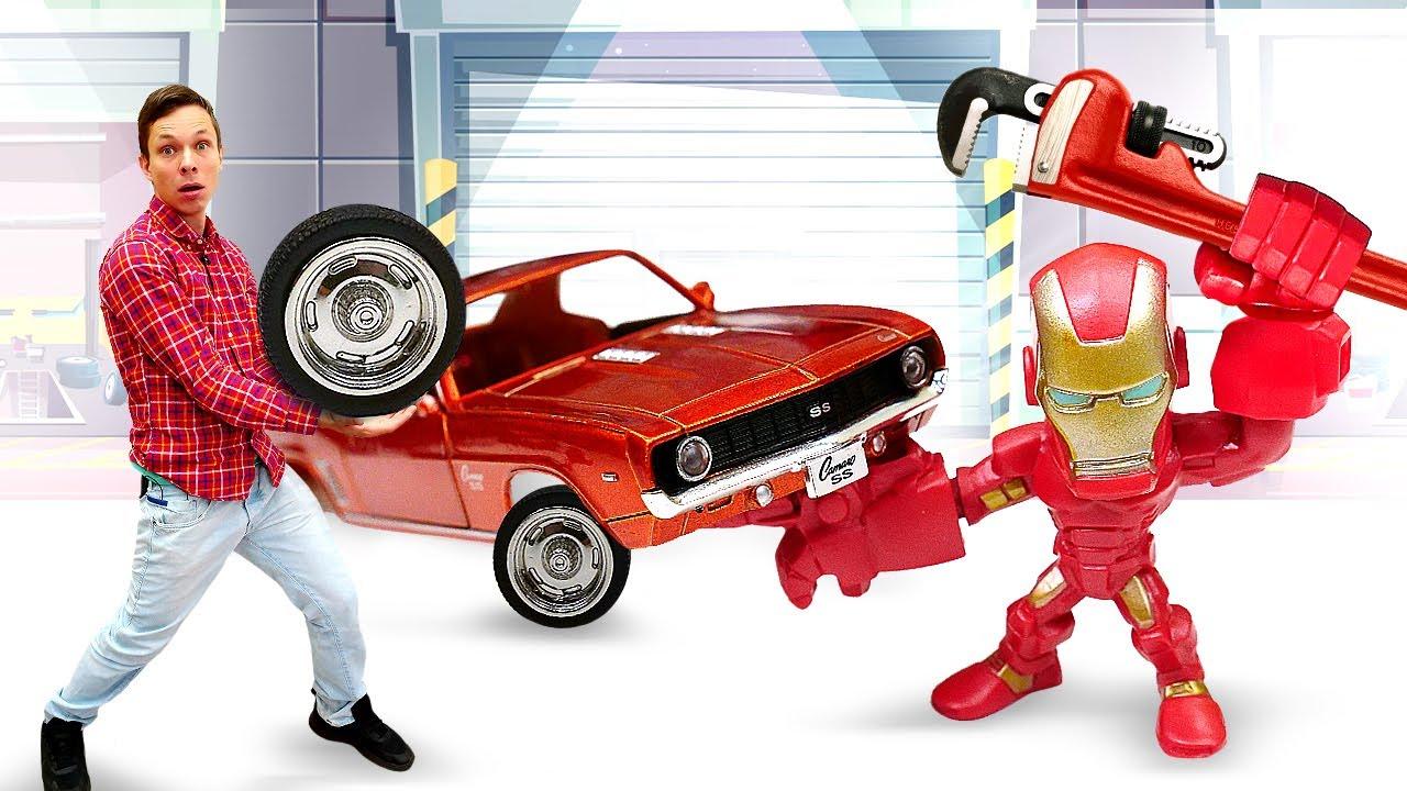 ПАПА тайм — Железный Человек заказал Тачку в Интернете! Супергерои и Фёдор чинят Машинки! — Видео игры для детей