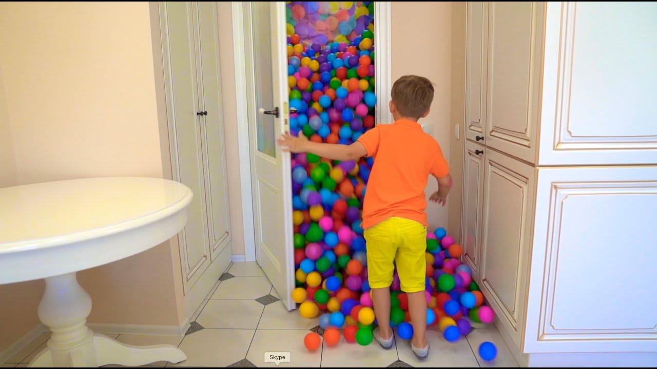 Супер Сеня — 1 МИЛЛИАРД шариков в КВАРТИРЕ! Сеня и Цветные шарики