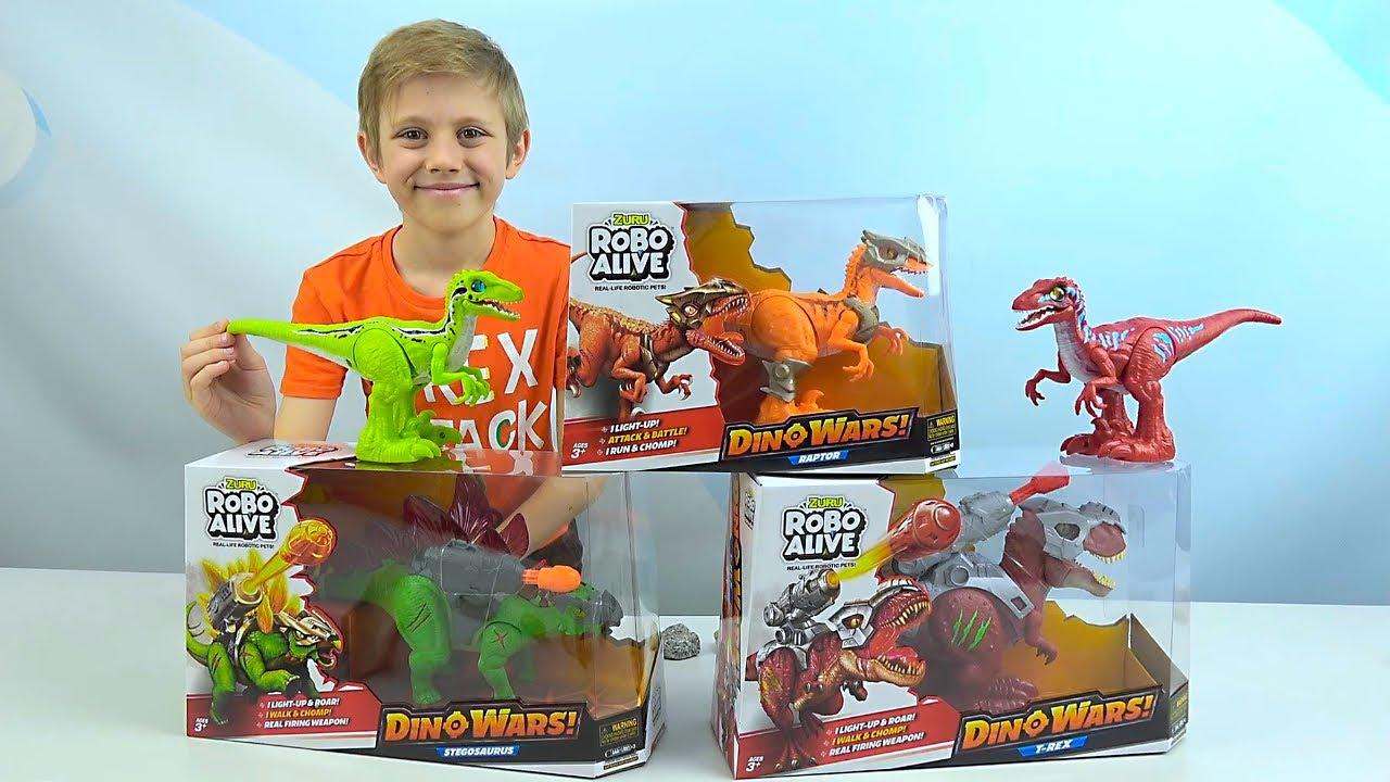 Боевые ДИНОЗАВРЫ Robo Alive против Джокера! Тиранозавр, Стегозавр и Велоцирапотор. DINO WARS!
