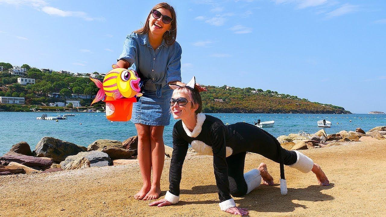 Капуки Кануки — Веселое видео для детей — Маша учит Дикую Кошку пристегиваться! Поем детские песни и едем к морю!