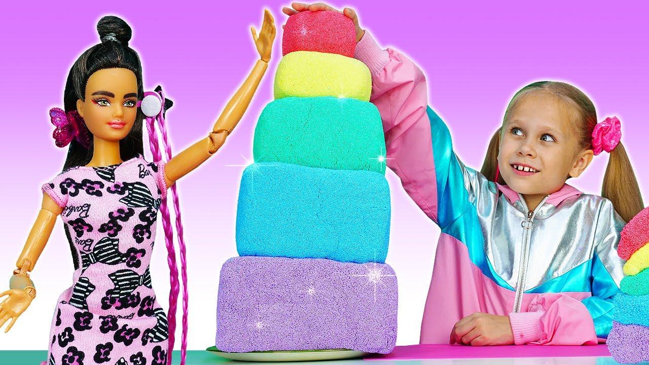Лучшие Подружки — Видео куклы БАРБИ — Готовим Торт для вечеринки Barbie! — Весёлые игры одевалки для девочек