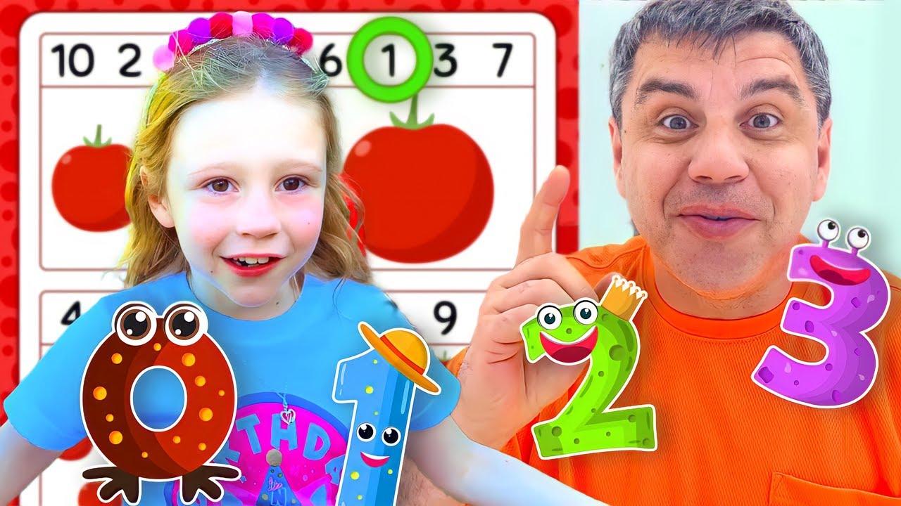 Настя и папа вместе учат математику и счет.  Истории для детей