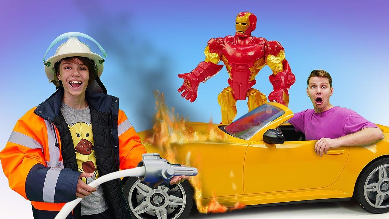 ПАПА тайм — Прикольные видео — Железный Человек и Полицейская академия тушат пожар! – Весёлые игры для мальчиков
